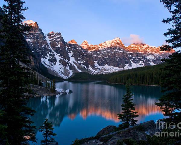 Moraine Lake Poster featuring the photograph Banff - Moraine Lake Sunrise by Terry Elniski