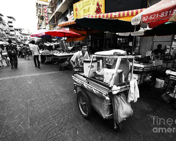 Street Life Poster featuring the photograph Bangkok Street Life by Charuhas Deshpande