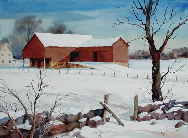 Landscape Poster featuring the painting Bankbarn in the Snow by Faye Ziegler