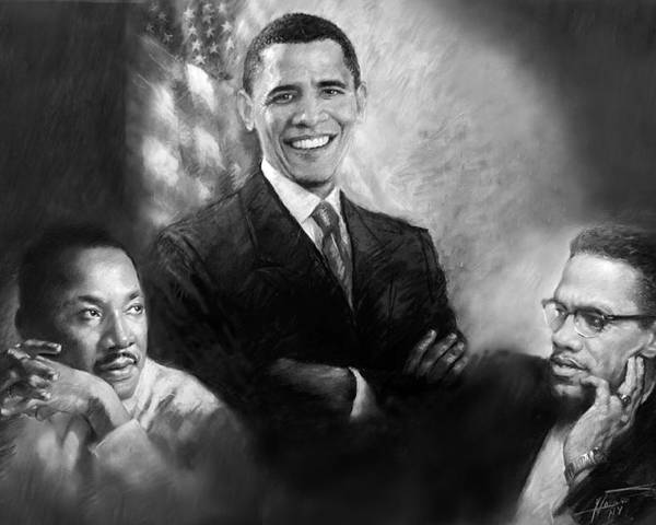 Barack Obama Poster featuring the pastel Barack Obama Martin Luther King Jr And Malcolm X by Ylli Haruni