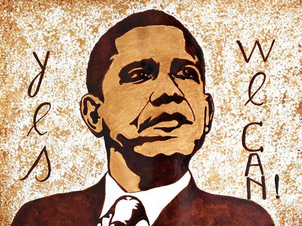 Barack Obama Original Coffee Art Poster featuring the painting Barack Obama Words Of Wisdom Coffee Painting by Georgeta Blanaru