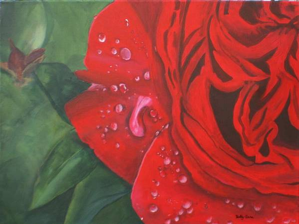 18 X 24 Stretched Canvas. Done For A Friend Poster featuring the painting Barb's Rose by Betty-Anne McDonald