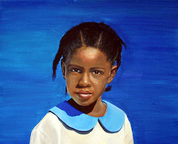 Portrait Poster featuring the painting Barbuda School Girl by Fiona Jack