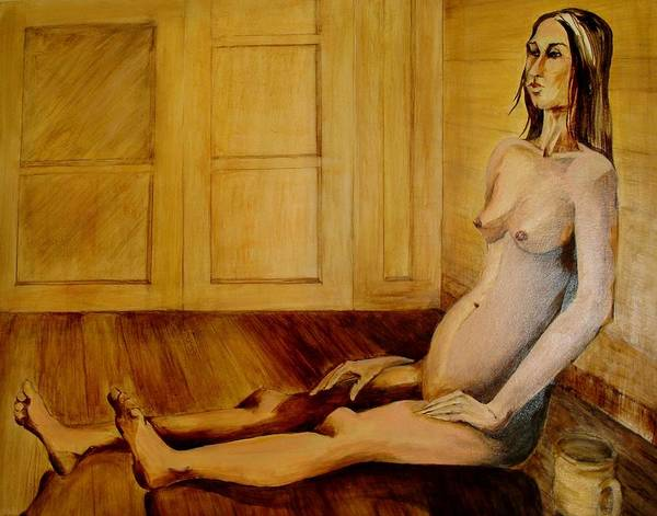 Originally Entitled 'barefoot And Pregnant'. This A Painting Of A Pregnant Nude Woman Seated On Her Bare Floor. Out The Window One Can View A Vague City Scape At Night. Hues Of Pinks And Browns. Poster featuring the painting Bare by Georgia Annwell