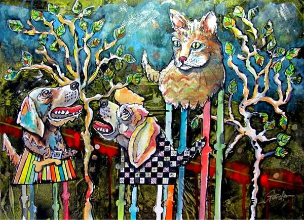 Cat Poster featuring the mixed media Barking Up The Wrong Tree by Alan Gordon