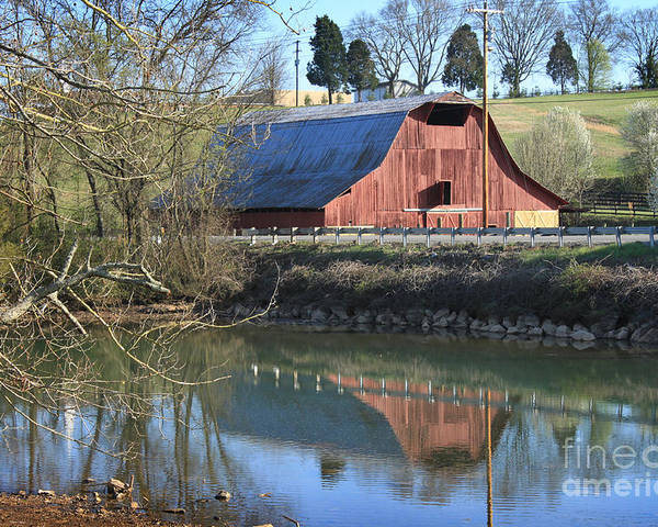 Landscape Poster featuring the photograph Barn And Reflections by Todd Blanchard