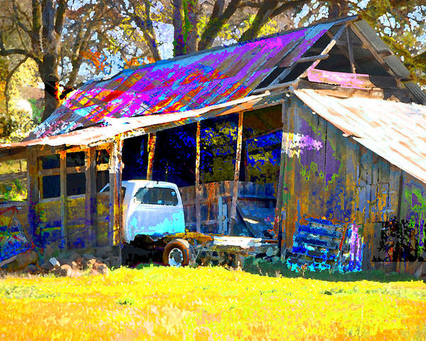 Poster featuring the digital art Barn And Truck by Danielle Stephenson