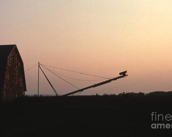 Barn Poster featuring the photograph Barn At Sunset by Timothy Johnson