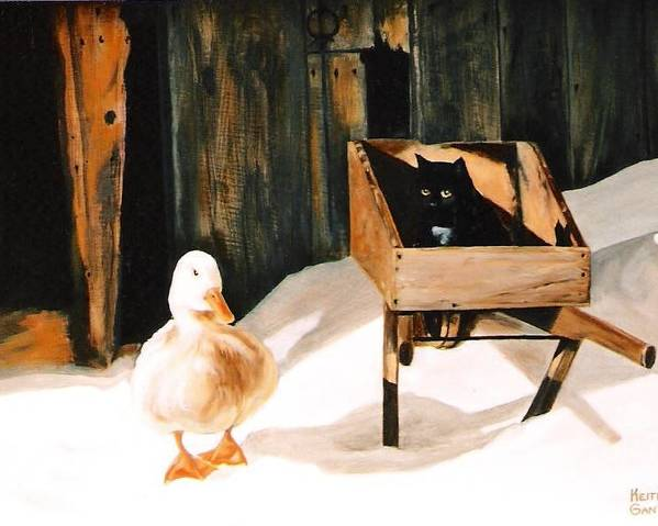 Ducks Poster featuring the painting Barn Fellows by Keith Gantos