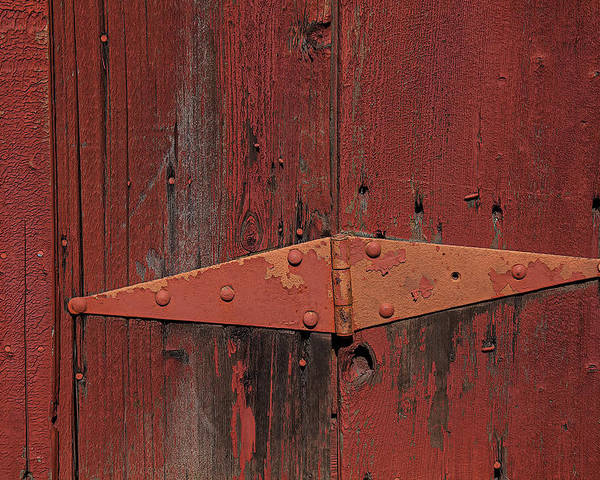 Red Door Henge Poster featuring the photograph Barn Hinge by Garry Gay