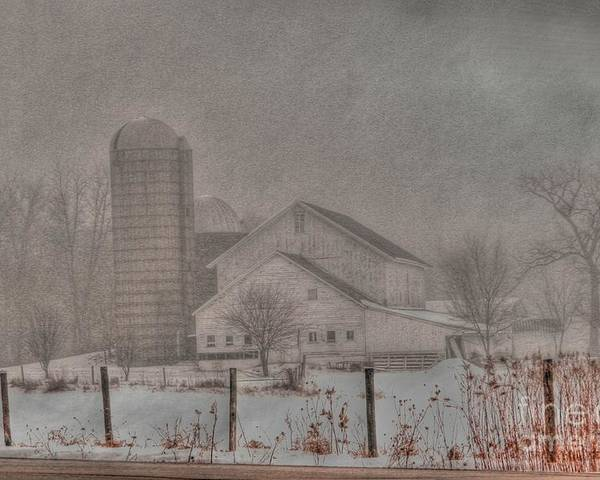 Barn Poster featuring the photograph Barn In Fog by David Bearden