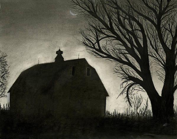Home Login Poster featuring the drawing Barn Sillouette by Bryan Baumeister