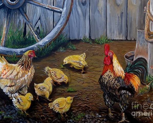 Chickens Poster featuring the painting Barnyard Chickens by Holly Bartlett Brannan