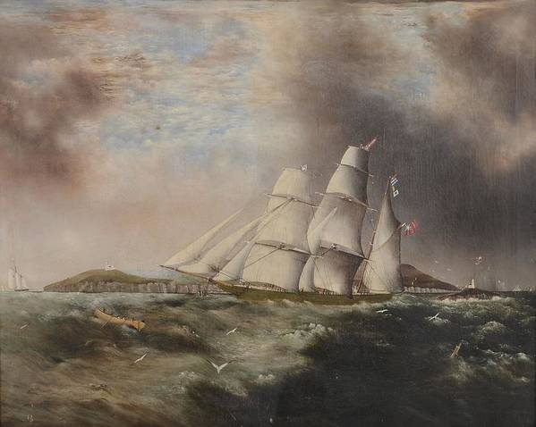 Barque heading out off Anglesea in choppy seas by Samual Walters