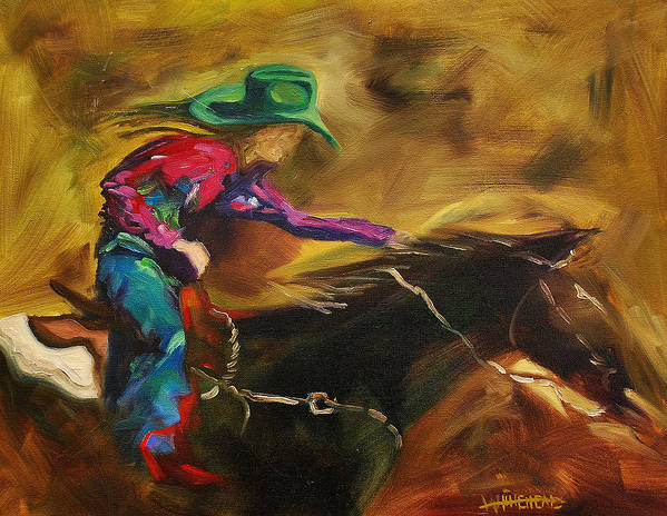 Western Art Poster featuring the painting Barrel Racer by Diane Whitehead