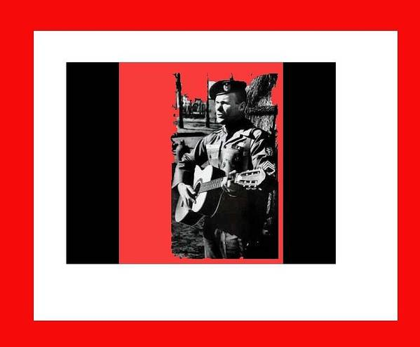 Barry Sadler Playing Guitar Circa 1966 Poster featuring the photograph Barry Sadler Playing Guitar Circa 1966-2016 by David Lee Guss