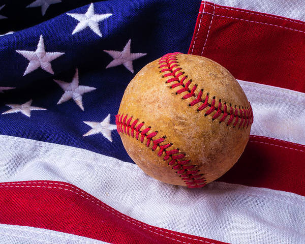 Baseballs Poster featuring the photograph Baseball And American Flag by Garry Gay