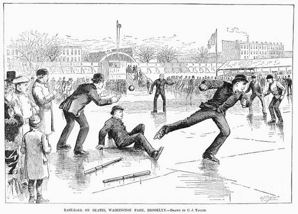 1884 Poster featuring the photograph Baseball On Ice, 1884 by Granger