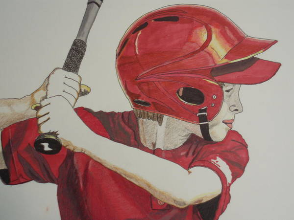Baseball Poster featuring the drawing Baseball Ready 2 by Michael Runner