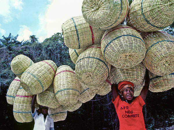 Haiti Poster featuring the photograph Basket Lady by Johnny Sandaire