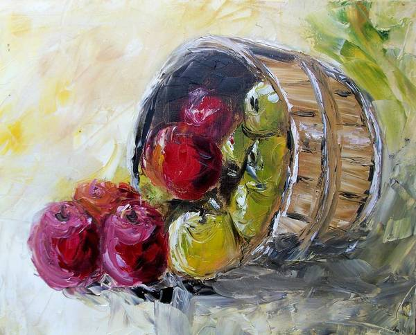 Apples Poster featuring the painting Basket Of Apples by Craig Wade