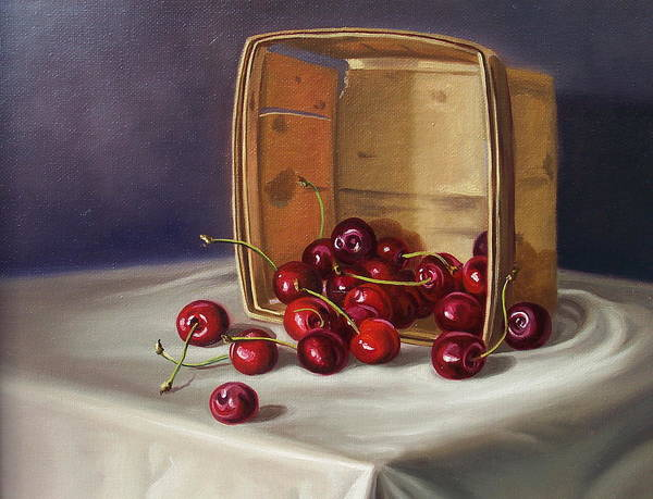 Still Life Poster featuring the painting Basket Of Cherries by Arnold Hurley