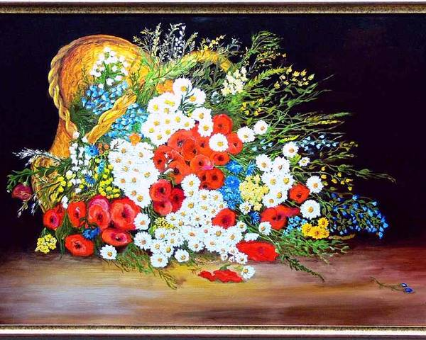 Summer Poster featuring the painting Basket With Summer Flowers by Helmut Rottler