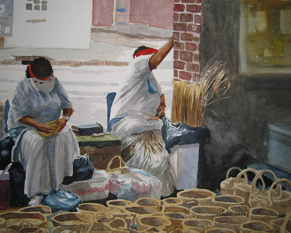 Market Street Poster featuring the painting Basketweavers by Shirley Braithwaite Hunt