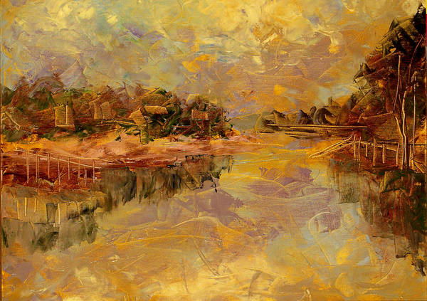 Landscape Poster featuring the painting Bass River by Olga Gernovski
