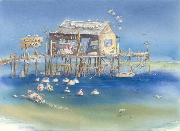 Scenic Poster featuring the painting Bates Bait And Buoys by Sharon Bowman