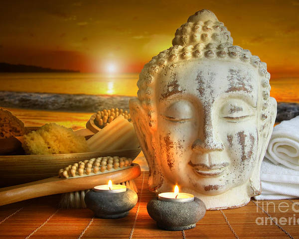 Aromatherapy Poster featuring the photograph Bath Accessories With Buddha Statue At Sunset by Sandra Cunningham