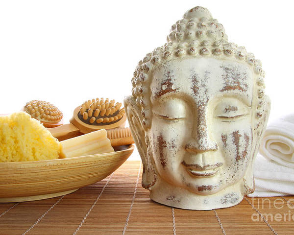 Accessory Poster featuring the photograph Bath Accessories With Buddha Statue by Sandra Cunningham