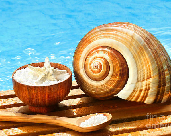 Aromatherapy Poster featuring the photograph Bath Salts And Sea Shell By The Pool by Sandra Cunningham