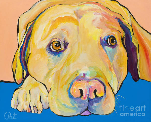 Dog Paintings Yellow Lab Puppy Colorful Animals Pets Poster featuring the painting Bath Time by Pat Saunders-White