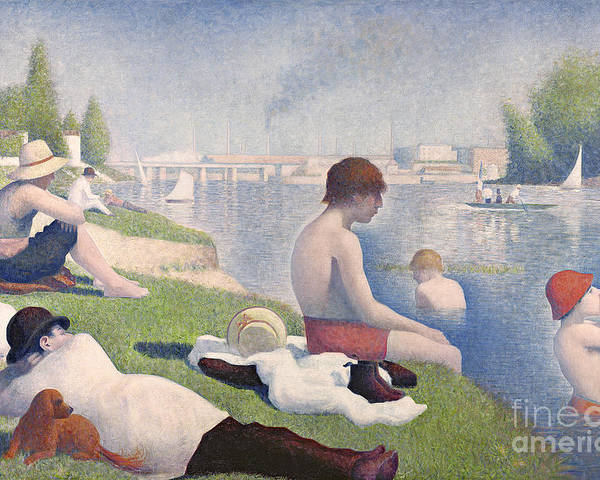 Pointillist; Swimming; Neo Impressionist; Bank; Seine; River; Dog; Puppy;l Ying; Baignade; Crt; Dgt; Golden Section Poster featuring the painting Bathers At Asnieres by Georges Pierre Seurat