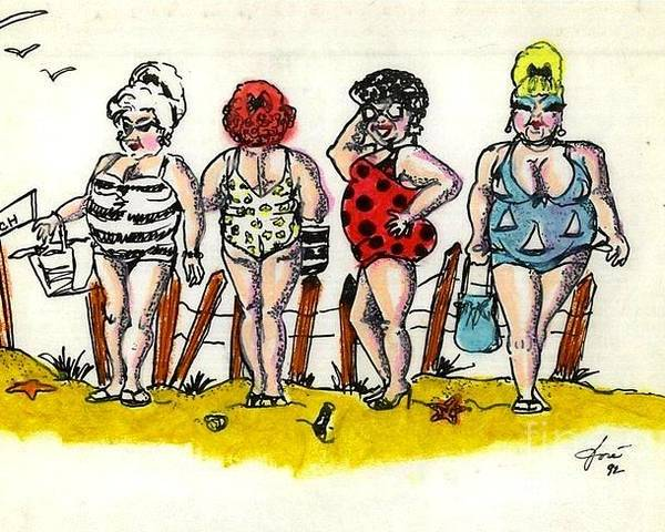Friendship Poster featuring the mixed media Bathing Beauties by Jose Breaux
