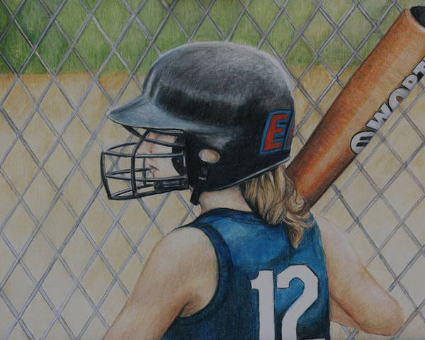 Softball Poster featuring the painting Batter Up by Charlotte Yealey