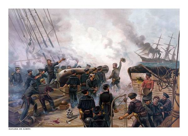Civil War Poster featuring the painting Battle Between Kearsarge And Alabama by War Is Hell Store