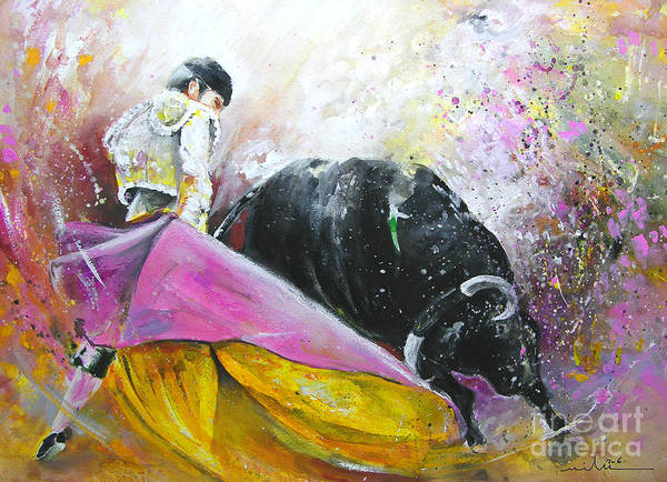Bullfight Poster featuring the painting Battle Joined by Miki De Goodaboom