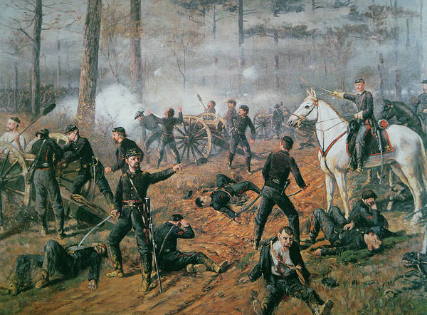 Captain Hickenlooper's Battery In The Hornet's Nest At The Battle Of Shiloh Poster featuring the painting Battle Of Shiloh by T C Lindsay
