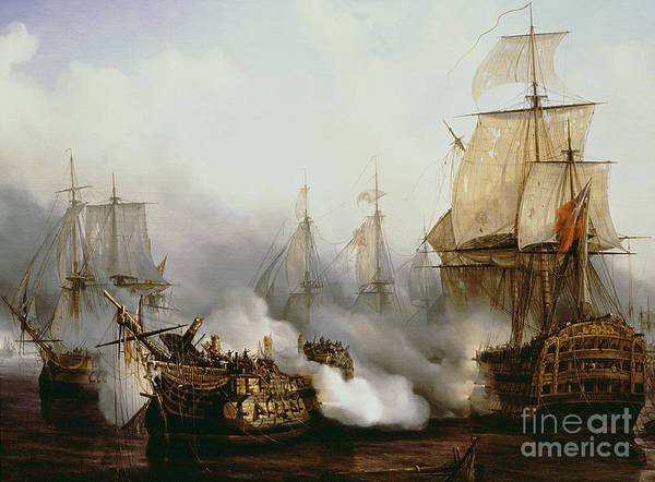 Battle Of Trafalgar By Louis Philippe Crepin Poster featuring the painting Battle of Trafalgar by Louis Philippe Crepin