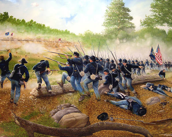 Civil War Poster featuring the painting Battle Of Utoy Creek by Marc Stewart