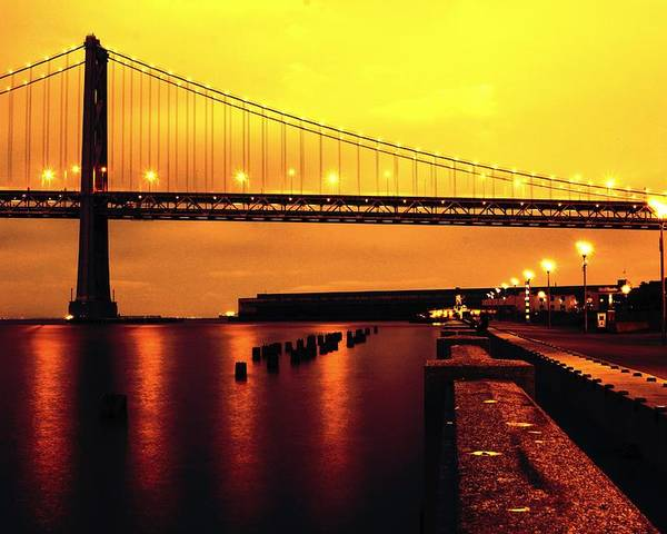 Bay Bridge Poster featuring the photograph Bay Bridge Black And Orange by Troy Young