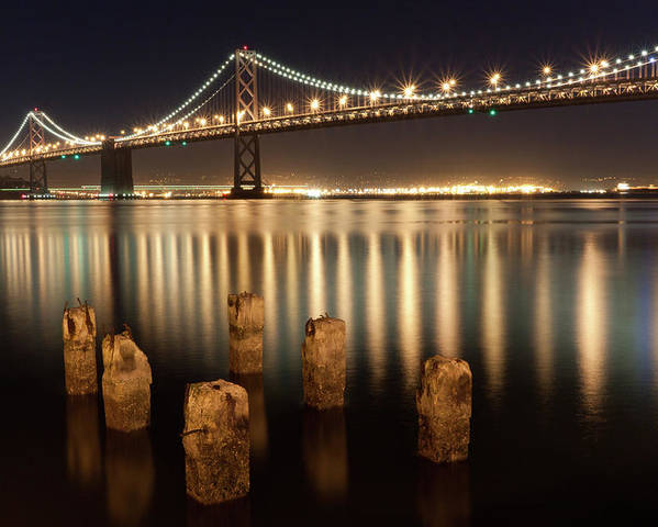 Horizontal Poster featuring the photograph Bay Bridge Reflections by Connie Spinardi