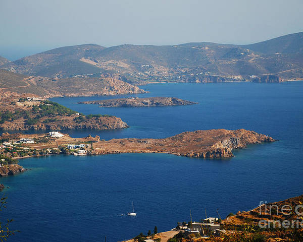 Patmos Poster featuring the photograph Bay View On Patmos Island Greece by Just Eclectic