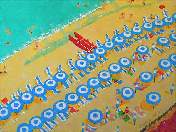 Beach Art Poster featuring the painting Beach At Sorrento by Art Mantia