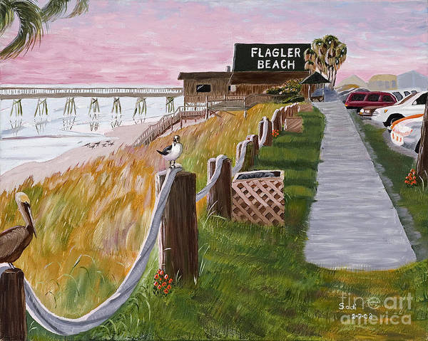 Landscape Poster featuring the painting Beach Birds At The Pier by Sodi Griffin