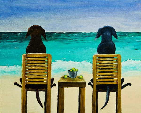 Labrador Retriever Poster featuring the painting Beach Bums by Roger Wedegis