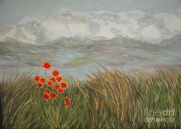 Landscape Poster featuring the painting Beach Daisies On Dune by Sodi Griffin