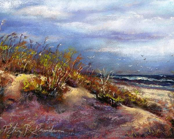 Pastel Poster featuring the pastel Beach Dune 1 by Peter R Davidson